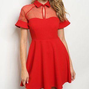 Red Short Sleeved Mini Dress